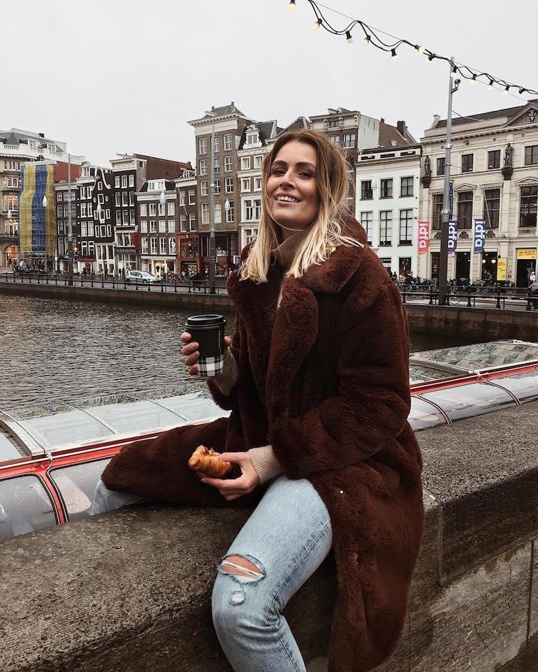 mango faux fur coat bruin